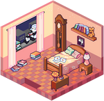 his room