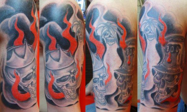 Half-sleeve skull tattoo - sleeve tattoo