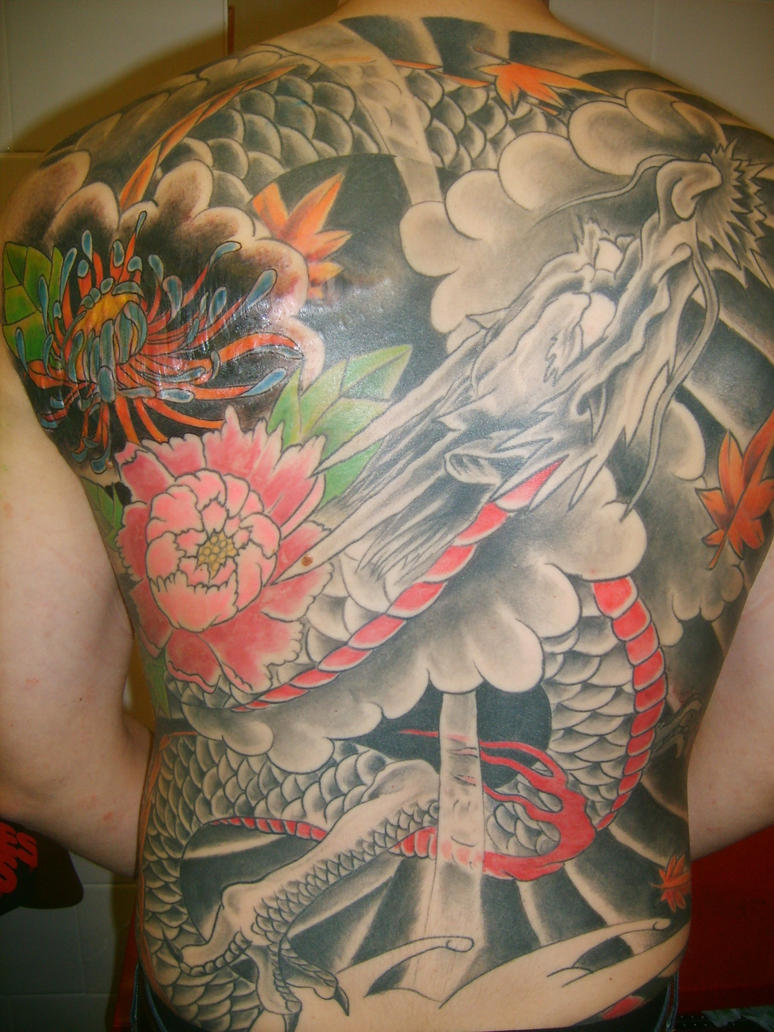 Full Back Piece Japanese Dragon Tattoo Design Picture 2