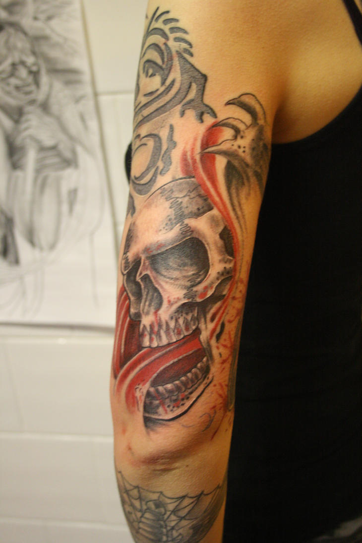 blood spitting skull by SimplyTattoo
