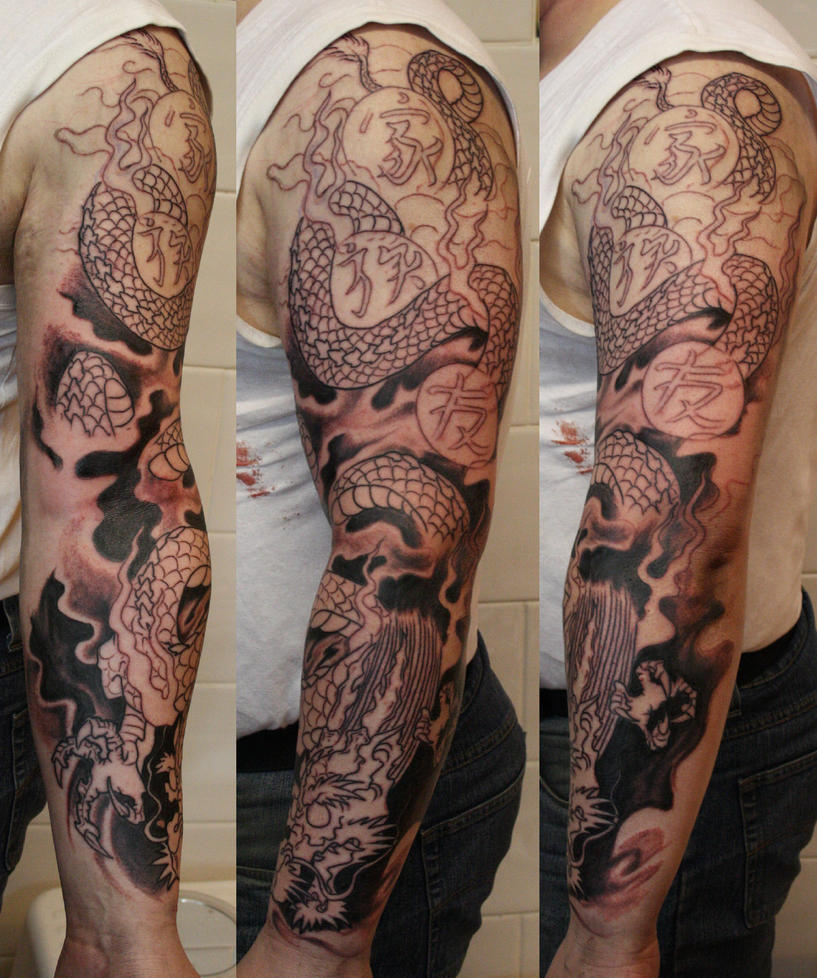Dragon sleeve wip by simplytattoo on deviantart for 1 2 sleeve tattoo