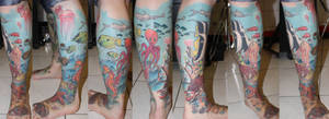 underwater leg in progress by SimplyTattoo