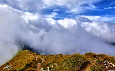 Path in the clouds.
