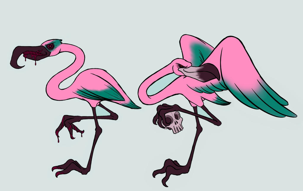 Creepy Flamingon Tattoo Designs by GrymmBadger