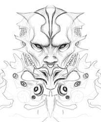 Alien dude Line work in sketch book pro 2011 by grafuck