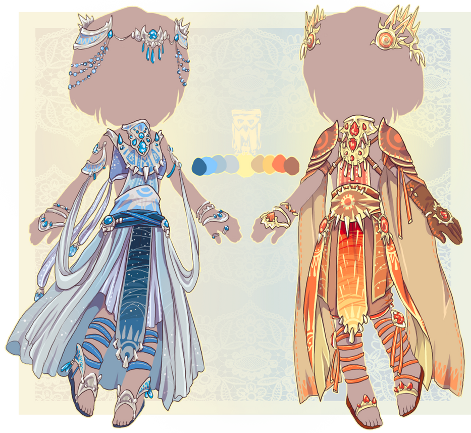 :Comm: moon and sun outfits by BlackMayo