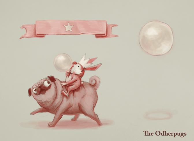Sir Bunny and Mr Potato having a soap bubble ride by HanKai
