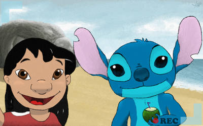 Lilo and Stitch on the beach