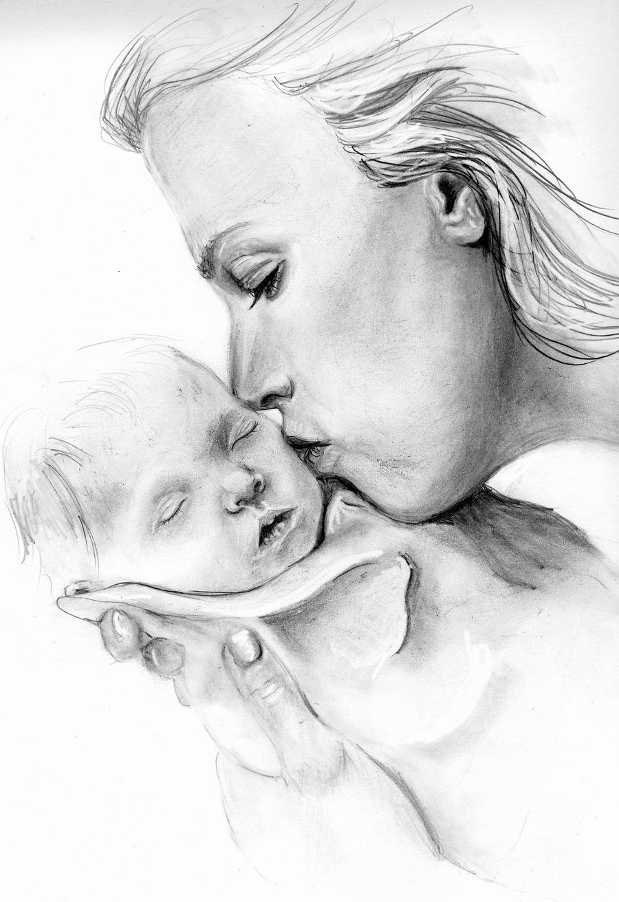 Mother and Baby UNFINISHED by N3V3RSHOUTN3V3R on DeviantArt