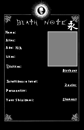 Death Note Oc Template