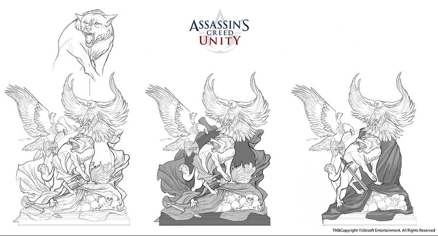 Assassin's Creed Unity /// Club space statue by Rez-art