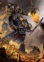 Games Workshop Arttest /// Spacemarine VS Ork by DavidAlvarezArt