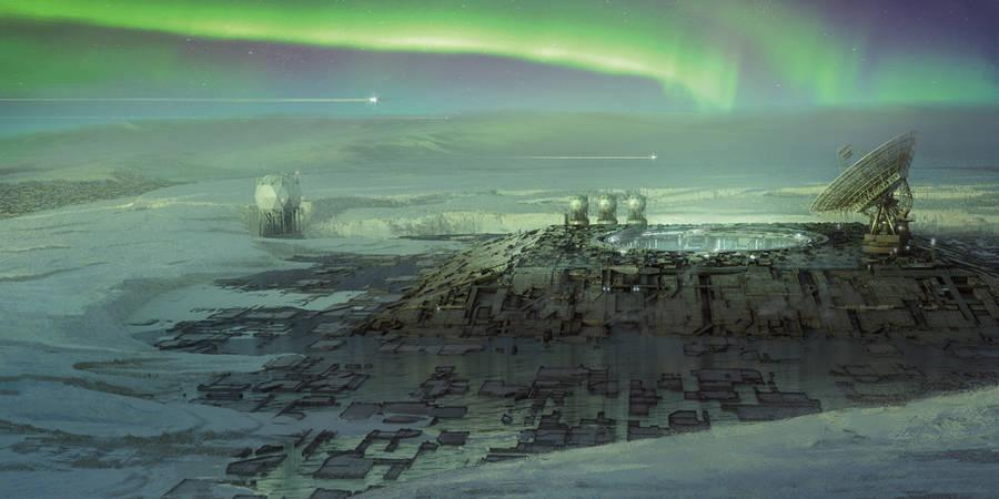 Arctic city / Aurora borealis by DavidAlvarezArt