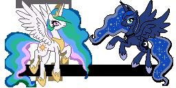 Luna Celestia Pixel WIP by Pony-Spiz