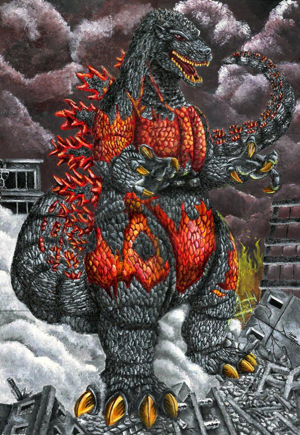 Burning Godzilla by Meliss