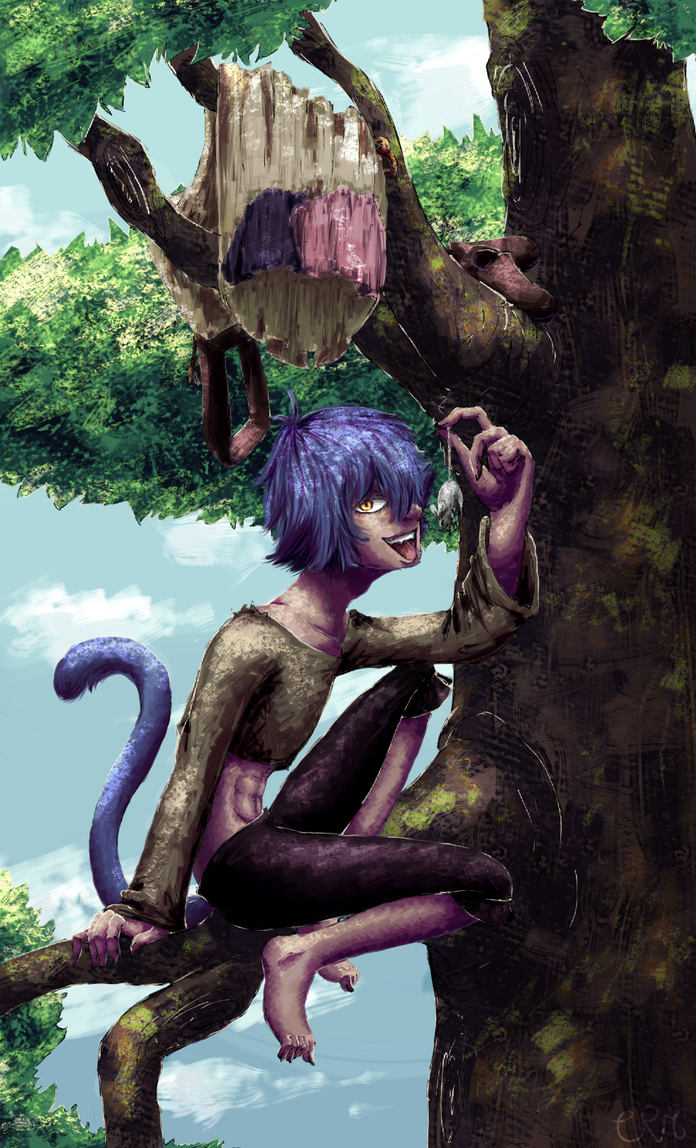 The cat on the tree by Cora-Rosemountain