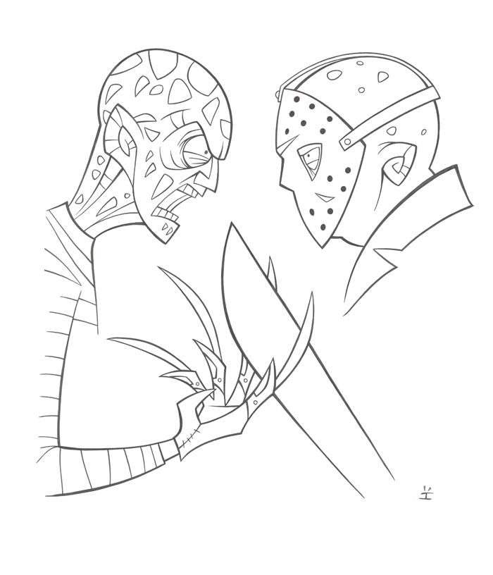 predator vs jason coloring pages - photo#5