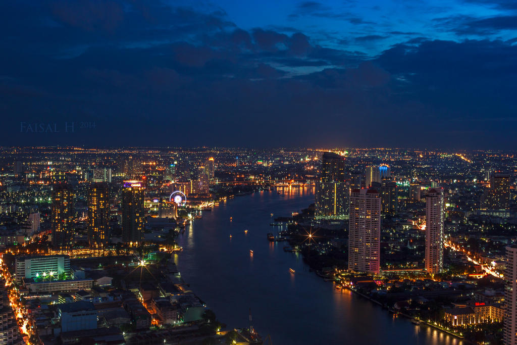 Chao Phraya River during Blue Hour by faisalh