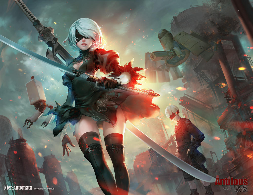 Nier Automata Fan Art Wallpaper 01 1920x1080: NieR Automata 2B9S(full Version) By Antilous On DeviantArt