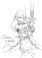 fate saber Sketch02 by antilous