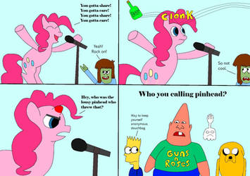 Pinkie Pie Gets Hit With A Bottle While Singing by Mcrfan343