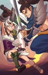 League of Legends: Riven vs. Yasuo by paper-hero