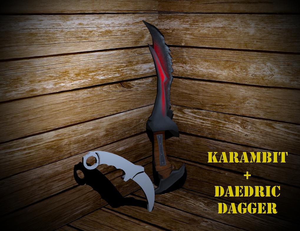 Daedric dagger and Karambit 3d by KazuukiHasegawa