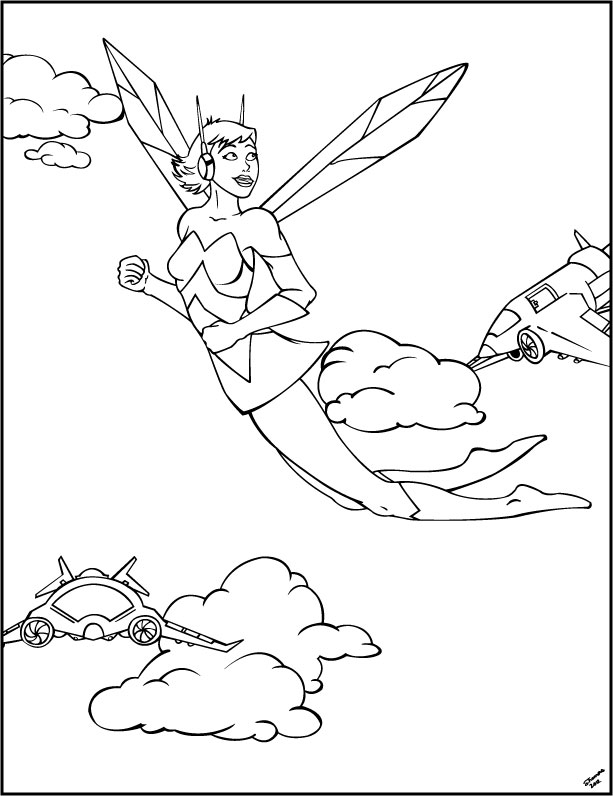 wasp avengers coloring pages - photo#2