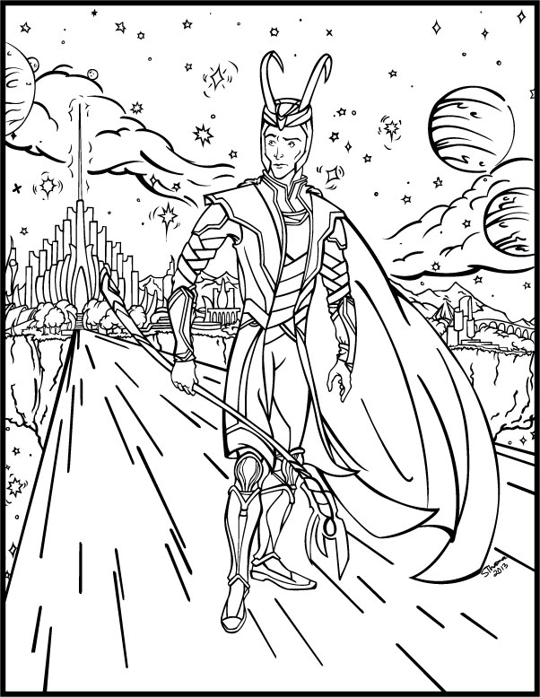 Avengers Tower Coloring Pages : How to draw avengers loki