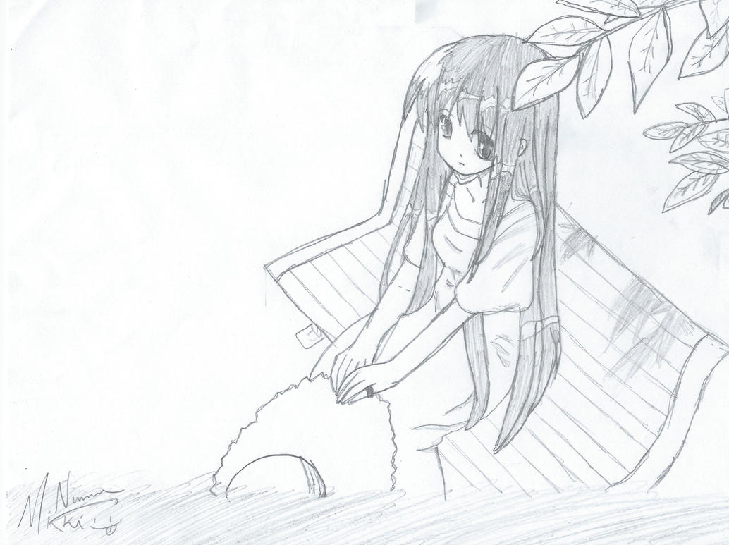 Draw Park Bench: Girl On Park Bench By FluffynotFat On DeviantArt