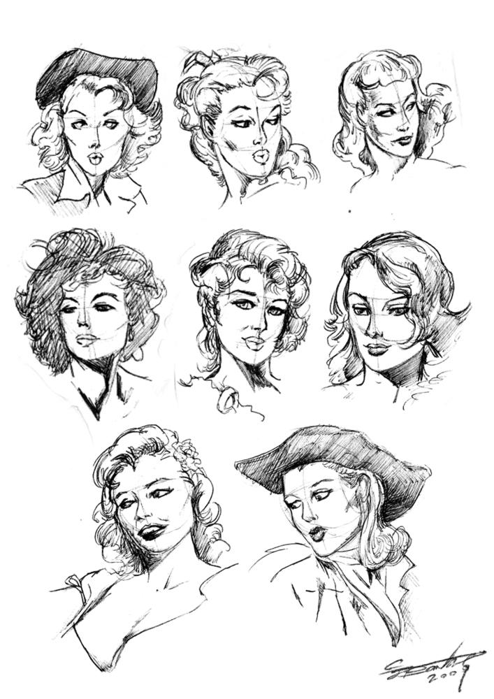 female head sketches by claytonbarton on deviantart