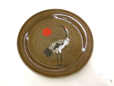 Red Crested Crane Plate