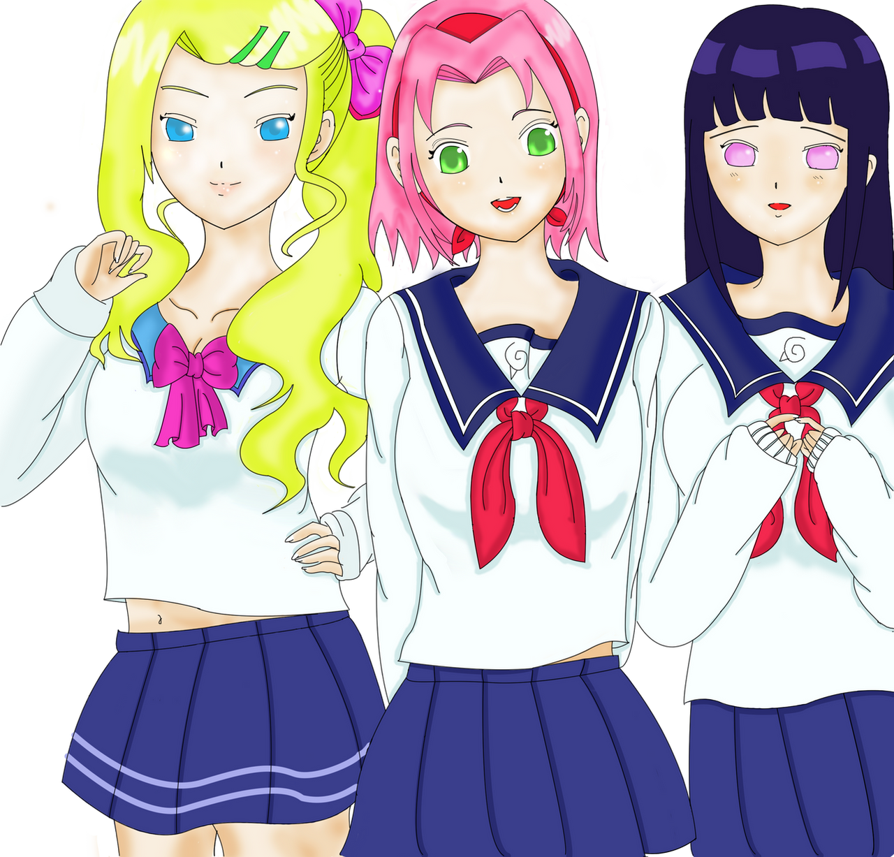 ngotaudixemay ino sakura and hinata school girls colors by ngotaudixemay