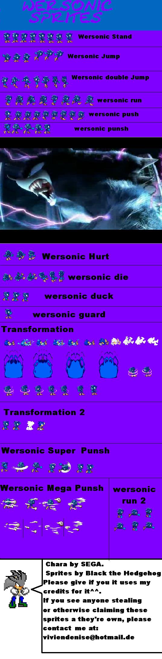 Sonic the Werehog Sprites by Silver-Fan