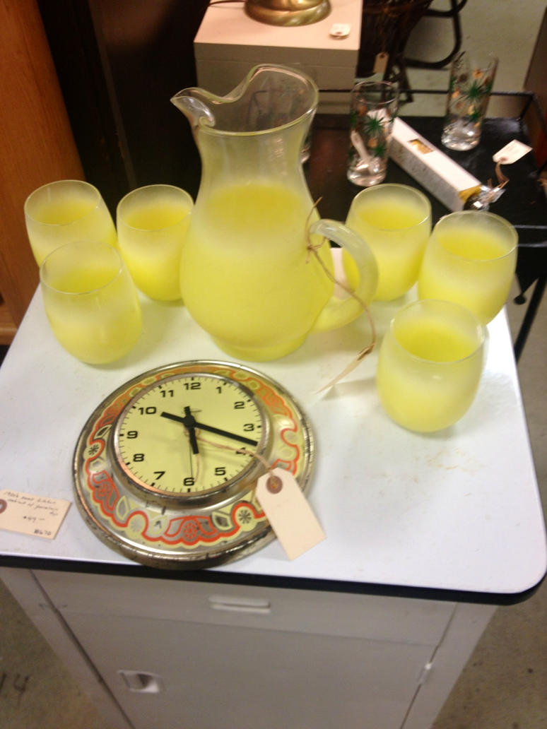 yellow pitcher, glasses and an old clock by JamestheRedEngine91