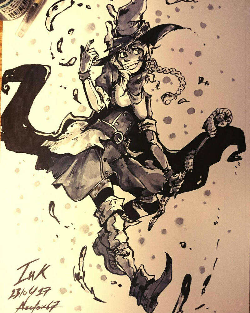 Witch - ink drawing  by Neofox67