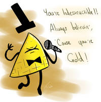Bill Cipher- Gold by Midknight-Hikari