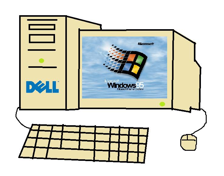 90's Dell Desktop Drawing by Grantrules