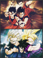 Kid and Adult Gohan by Nakaso
