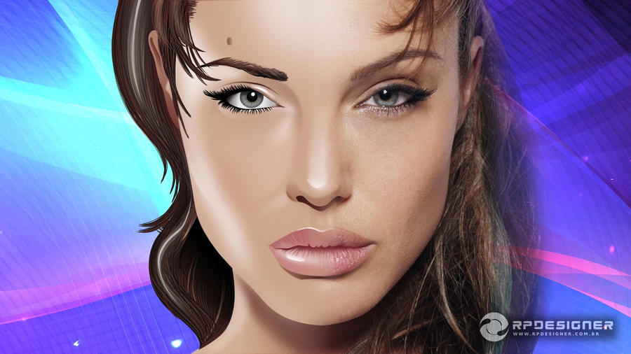 Inkscape: Angelina Jolie by rpdesignerfly