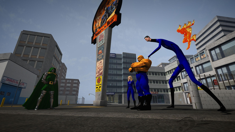 The Fantastic Four vs Doom by Spydraxis01