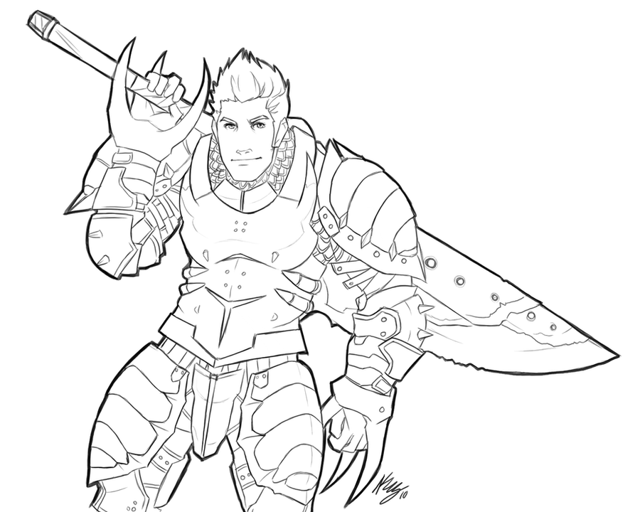 Line Drawing Monster : Monster hunter lineart by kwsmithjr on deviantart