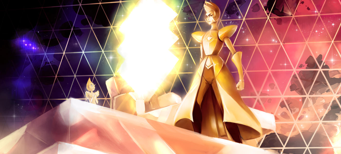 neatening up a sketch of Yellow Diamond