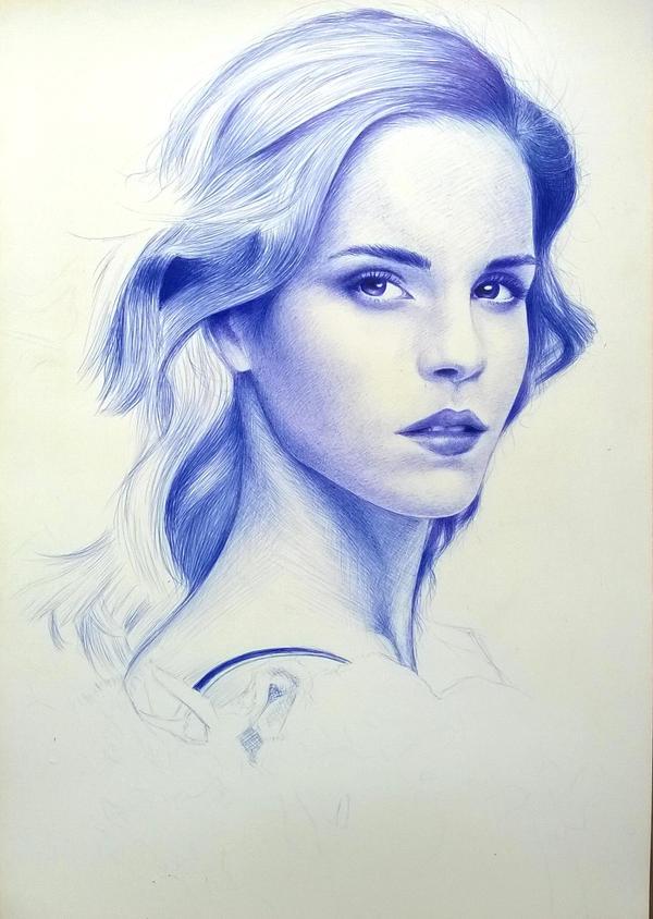 Emma Watson 2010 (Ballpoint Pen - WIP) by SongDuong