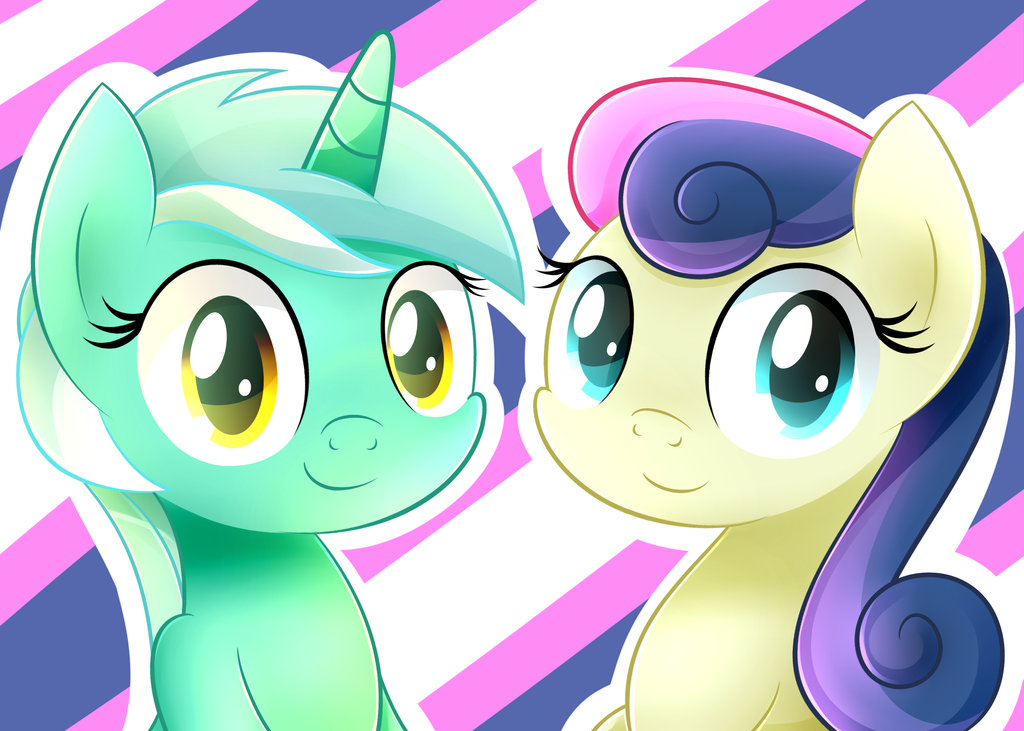 Lyra And Bon Bon by HeavyMetalBronyYeah