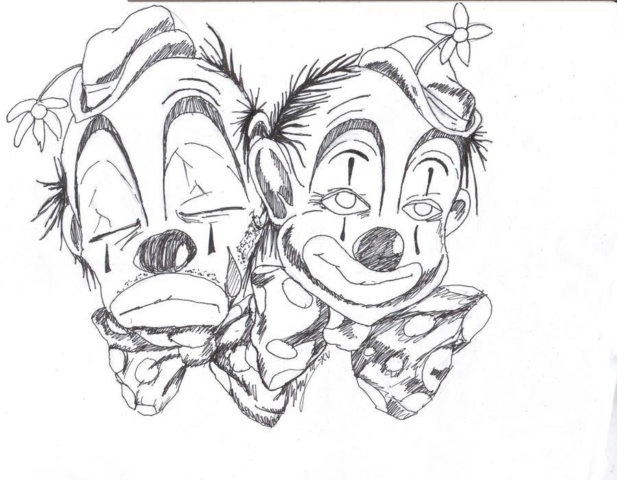 happy clown tattoos clowns sad by. Black Bedroom Furniture Sets. Home Design Ideas