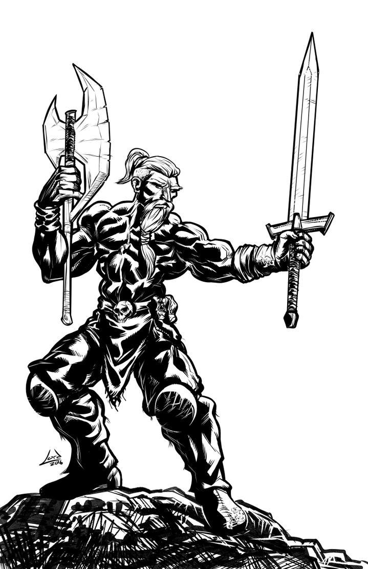 Viking Barbarian BandW Sketch by RyanLord