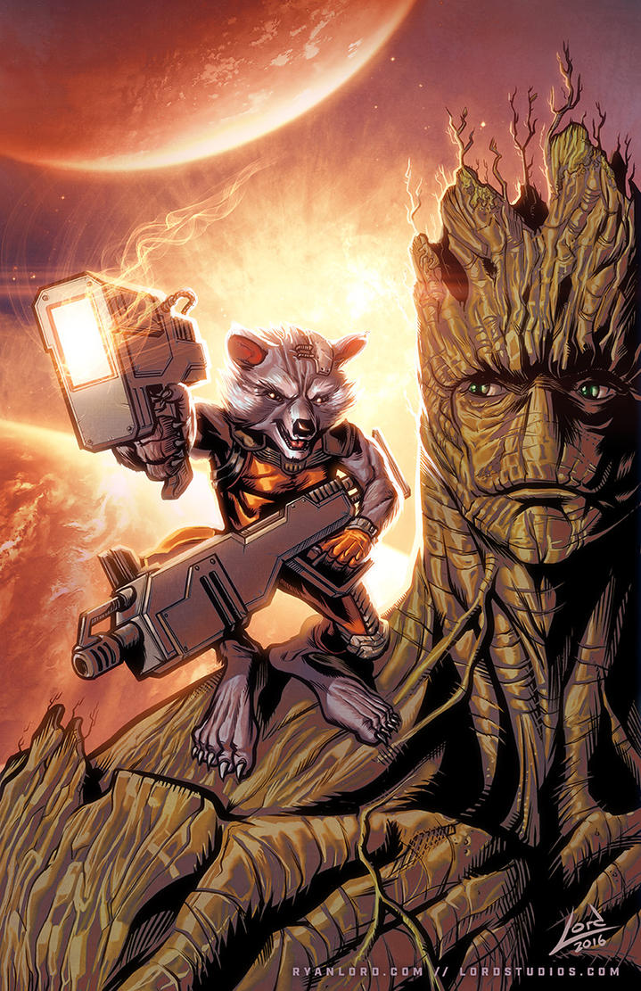 Rocket Raccoon and Groot by RyanLord