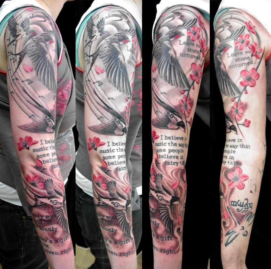 swallow musical tattoo sleeve by rohanrb on DeviantArt