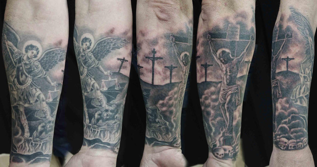 Jesus Arm Sleeve Tattoos